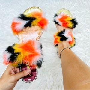 Multi fur jelly sandal
